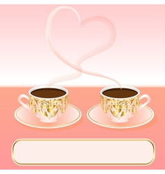 Background with a cup of coffee and heart vector