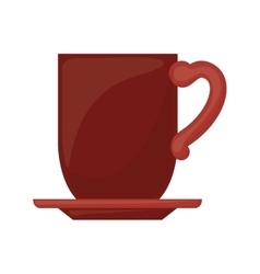 Red dish porcelain with cup vector