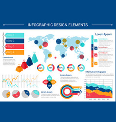 infographic elements design with world map charts vector image