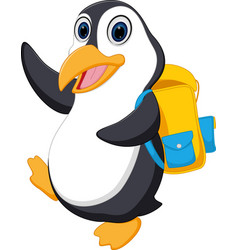 happy penguin cartoon going to school vector image