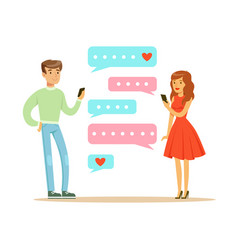 Two lovers chatting with their mobile phones vector