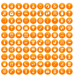 100 maternity leave icons set orange vector