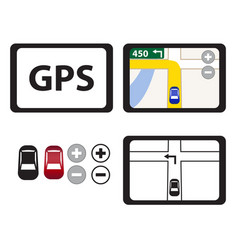 Set of gps icons isolated object vector