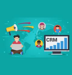 Business banner customer relationship management vector