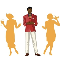 Afroamerican male party host with female guests vector