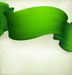 Waving green ribbon banner  drawing vector
