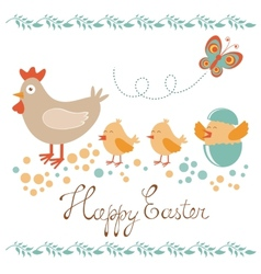 Cute easter card with chicken and chicks vector