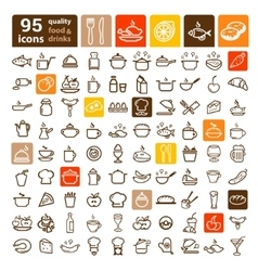 food icons big set vector image