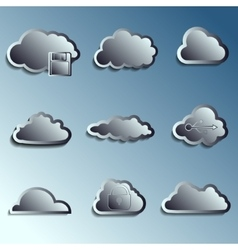 Steel 3d clouds vector