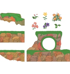 Set of garden plants flowers and stones vector