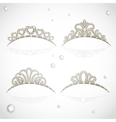 Elegant shiny tiara with precious stones isolated vector