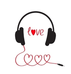 Headphones and red cord in shape of three hearts vector