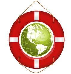 globe and lifesaver vector image