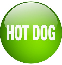 Hot dog green round gel isolated push button vector