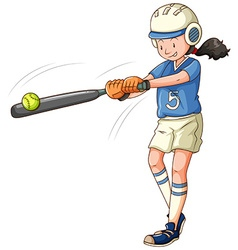 Woman athlete playing softball vector