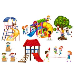 Kids playing games and playing slides vector image