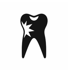 Cracked tooth icon simple style vector