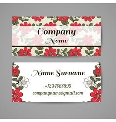Business cards red flowers vector