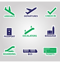 Airport signs stickers eps10 vector