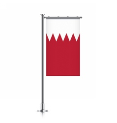 Bahrain flag hanging on a pole vector