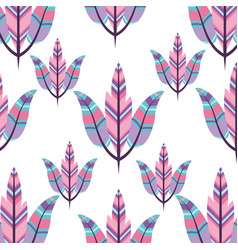 Boho style pattern with decorative feathers vector
