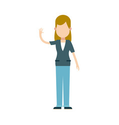 Character blonde woman female waving hand vector