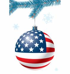 christmas ball with us flag vector image