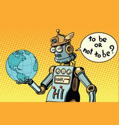 Earth day robot planet vector