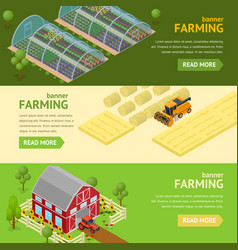 farming banner card horizontal set vector image vector image