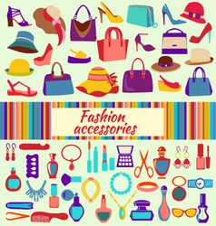 Fashion and beauty women accessories icons vector image vector image