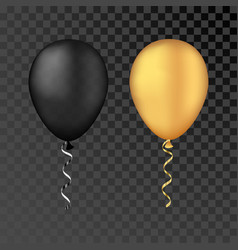 Gold and black balloons on a transparent vector