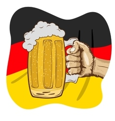 hand holding mug of beer over german flag vector image