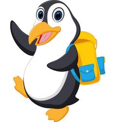 happy penguin cartoon going to school vector image vector image