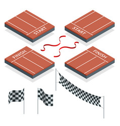 Isometric start and finish checkered flags vector