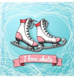 Love skate card theme vector