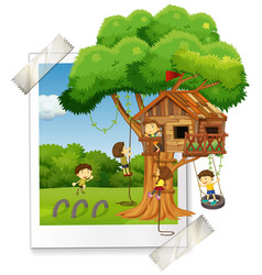 many children playing in treehouse vector image