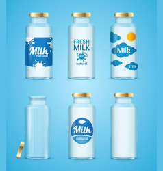 Milk bottles drink set vector