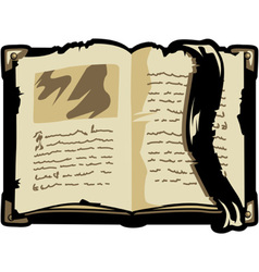 Opened old book vector