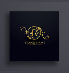 Royal letter r premium logo concept design vector