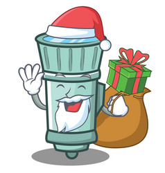 Santa flashlight cartoon character style vector