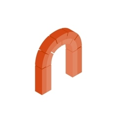 Semicircular arch made of red bricks icon vector image vector image