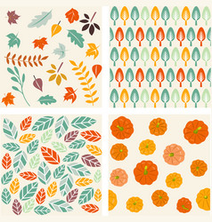 Set of autumn forest patterns vector