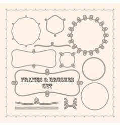 Set of frame templates and rope brushes design vector