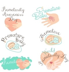 Set of logotypes and icons for Prematurity Day and vector image vector image