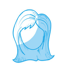 silhouette cute woman face with hairstyle vector image