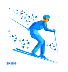 Skier with blue patterns running downhill vector