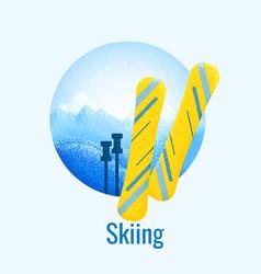 Skiing retro banner vector