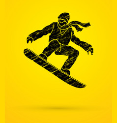 Snowboarder jumping snowboard graphic vector