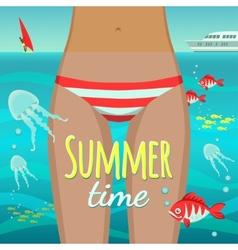 Summer girl under water vector image