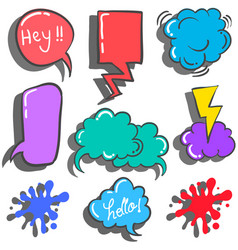 Text balloon style colorful doodles vector